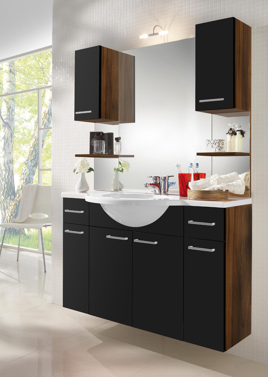 waschplatz inkl mineralgussbecken walnuss schwarz. Black Bedroom Furniture Sets. Home Design Ideas
