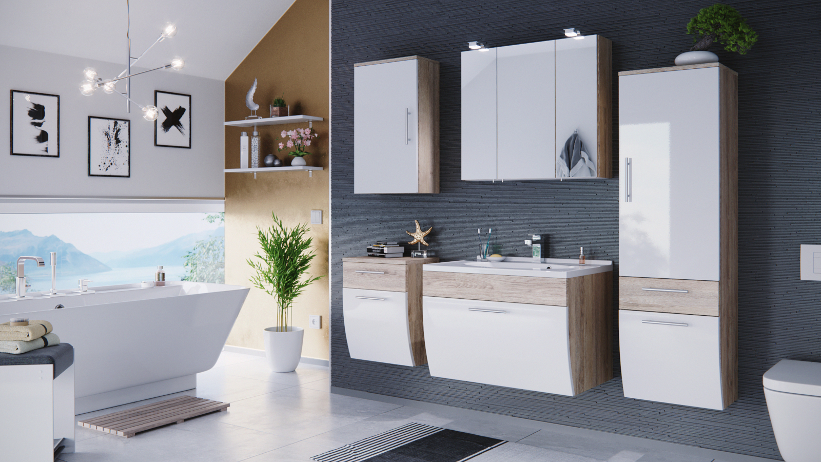 badm bel set salona in sonoma eiche wei. Black Bedroom Furniture Sets. Home Design Ideas