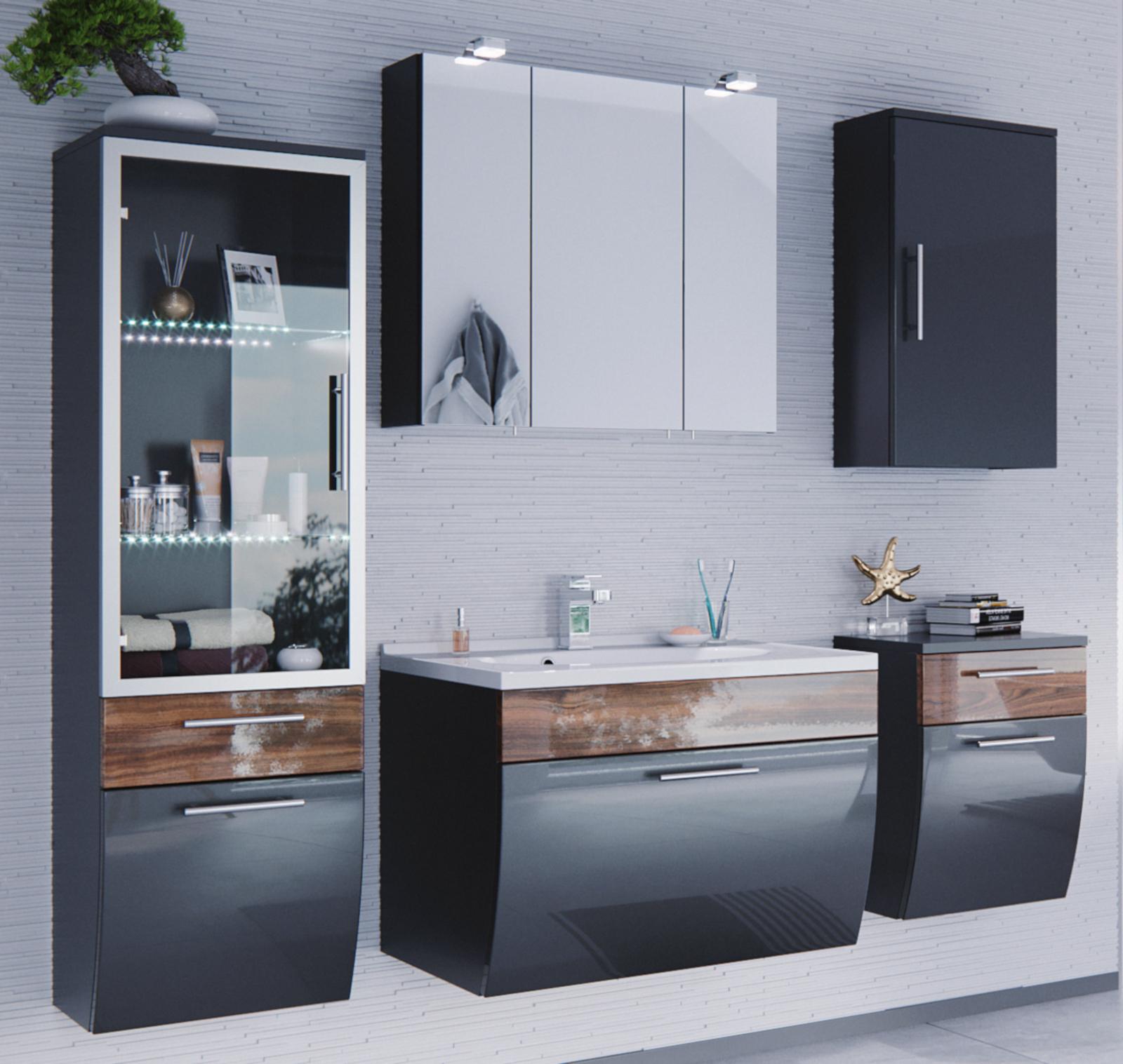 badm bel hochschrank salona in anthrazit walnuss. Black Bedroom Furniture Sets. Home Design Ideas