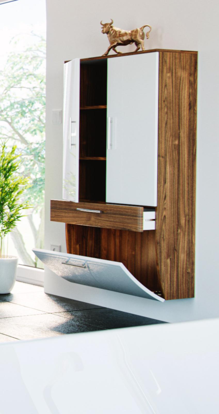 badm bel hochschrank salona in sonoma eiche wei. Black Bedroom Furniture Sets. Home Design Ideas