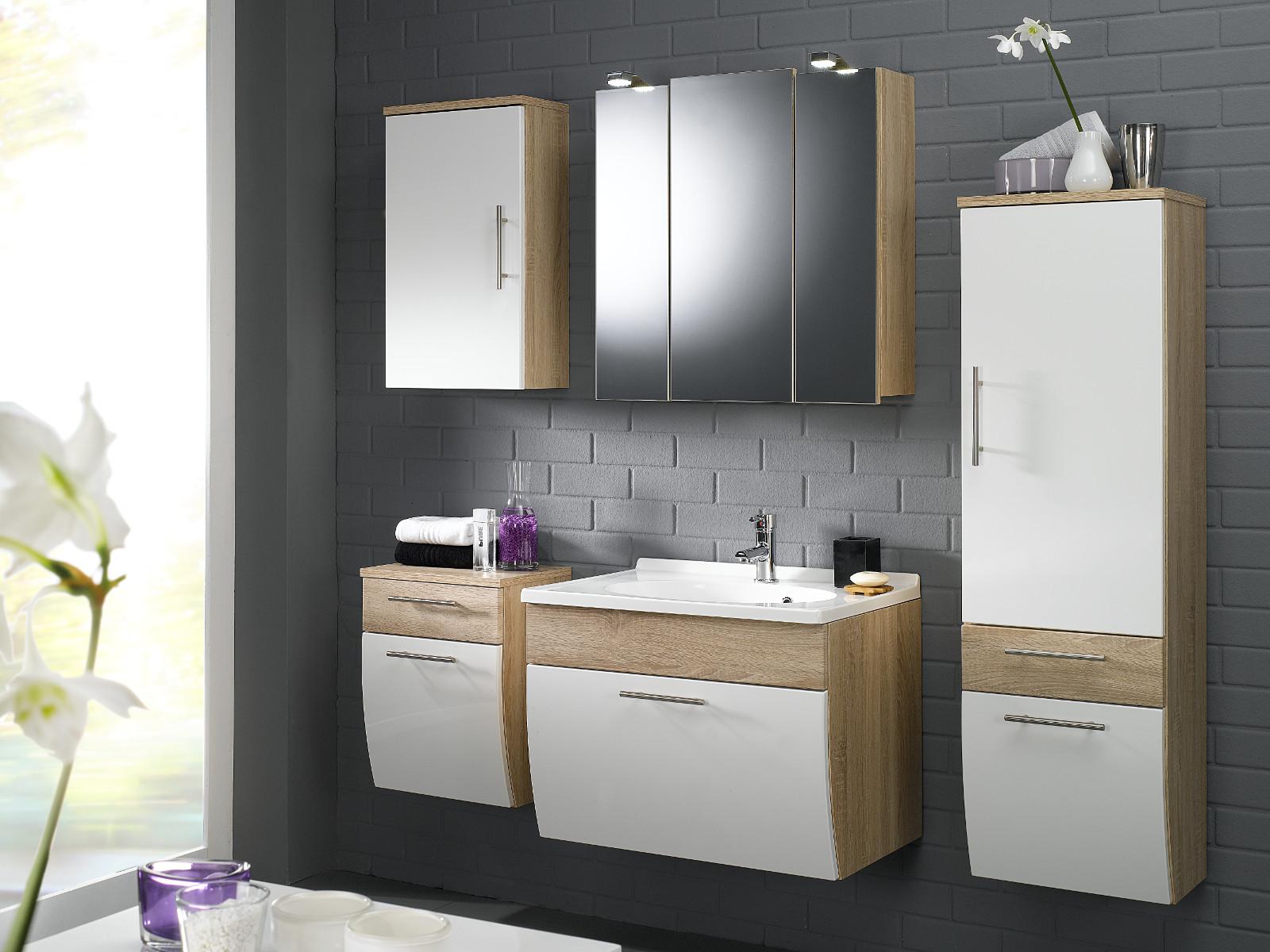 badm bel h ngeschrank salona in sonoma eiche wei. Black Bedroom Furniture Sets. Home Design Ideas