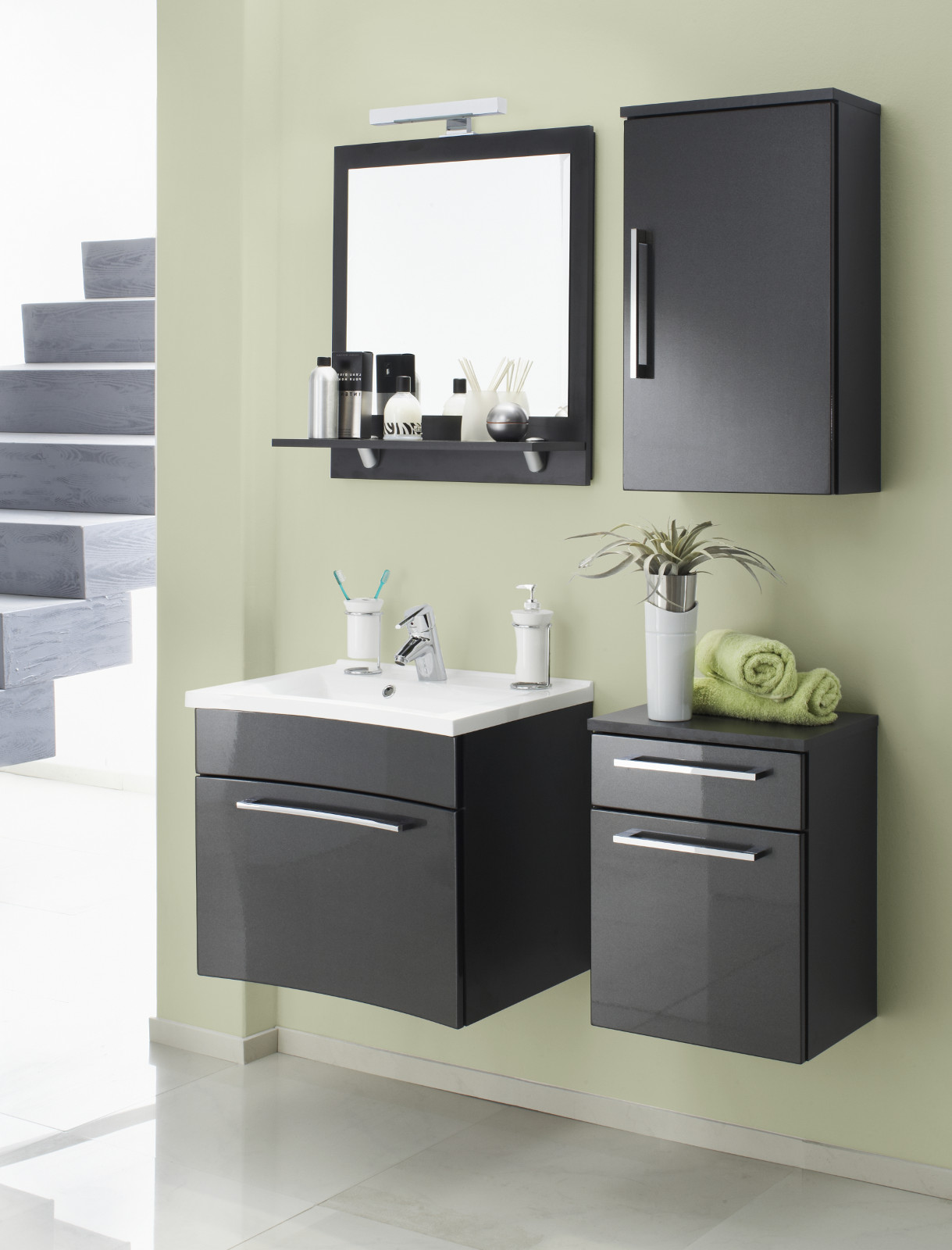 badm bel unterschrank in anthrazit hochglanz. Black Bedroom Furniture Sets. Home Design Ideas