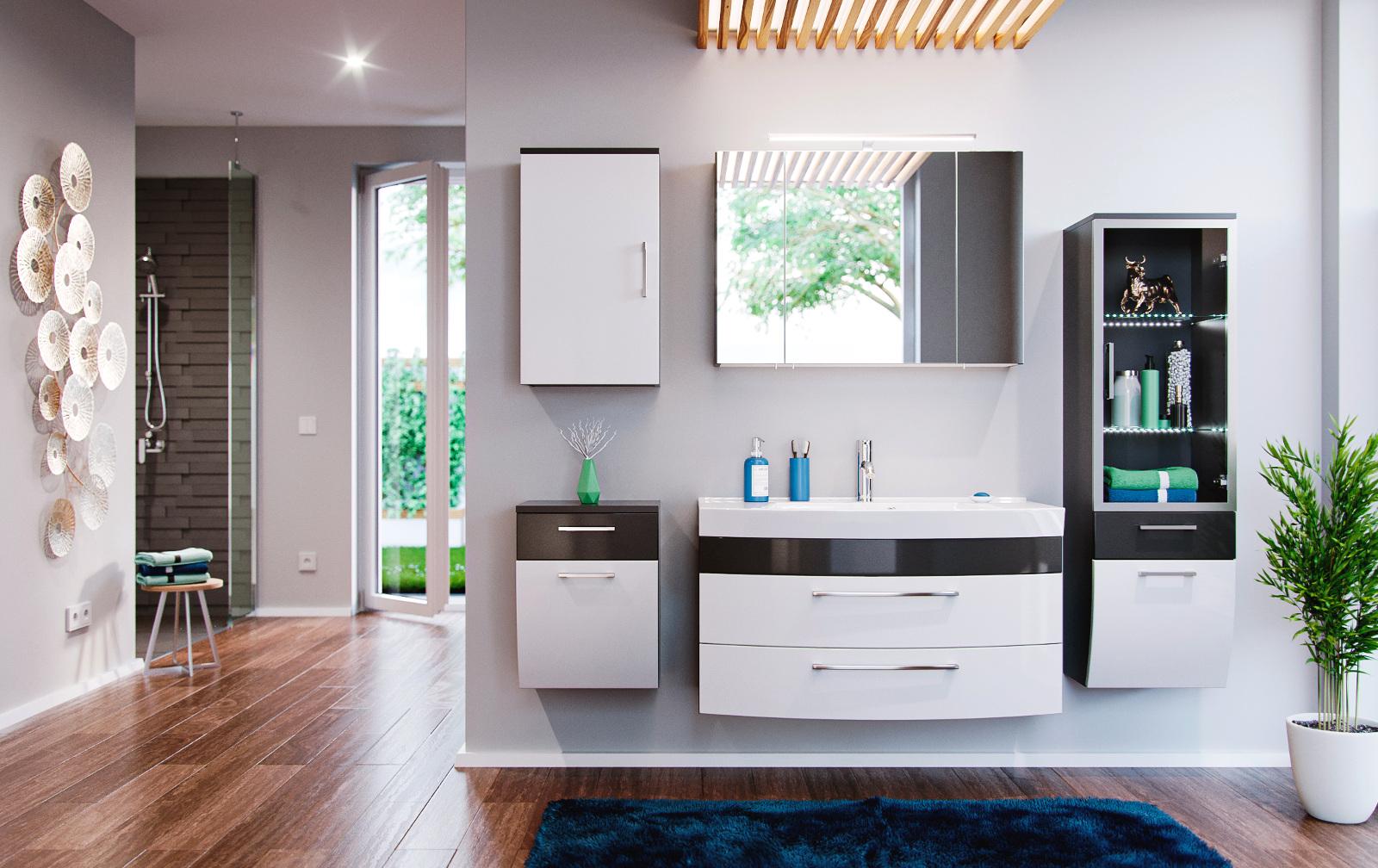 badm bel hochschrank in anthrazit wei hochglanz. Black Bedroom Furniture Sets. Home Design Ideas