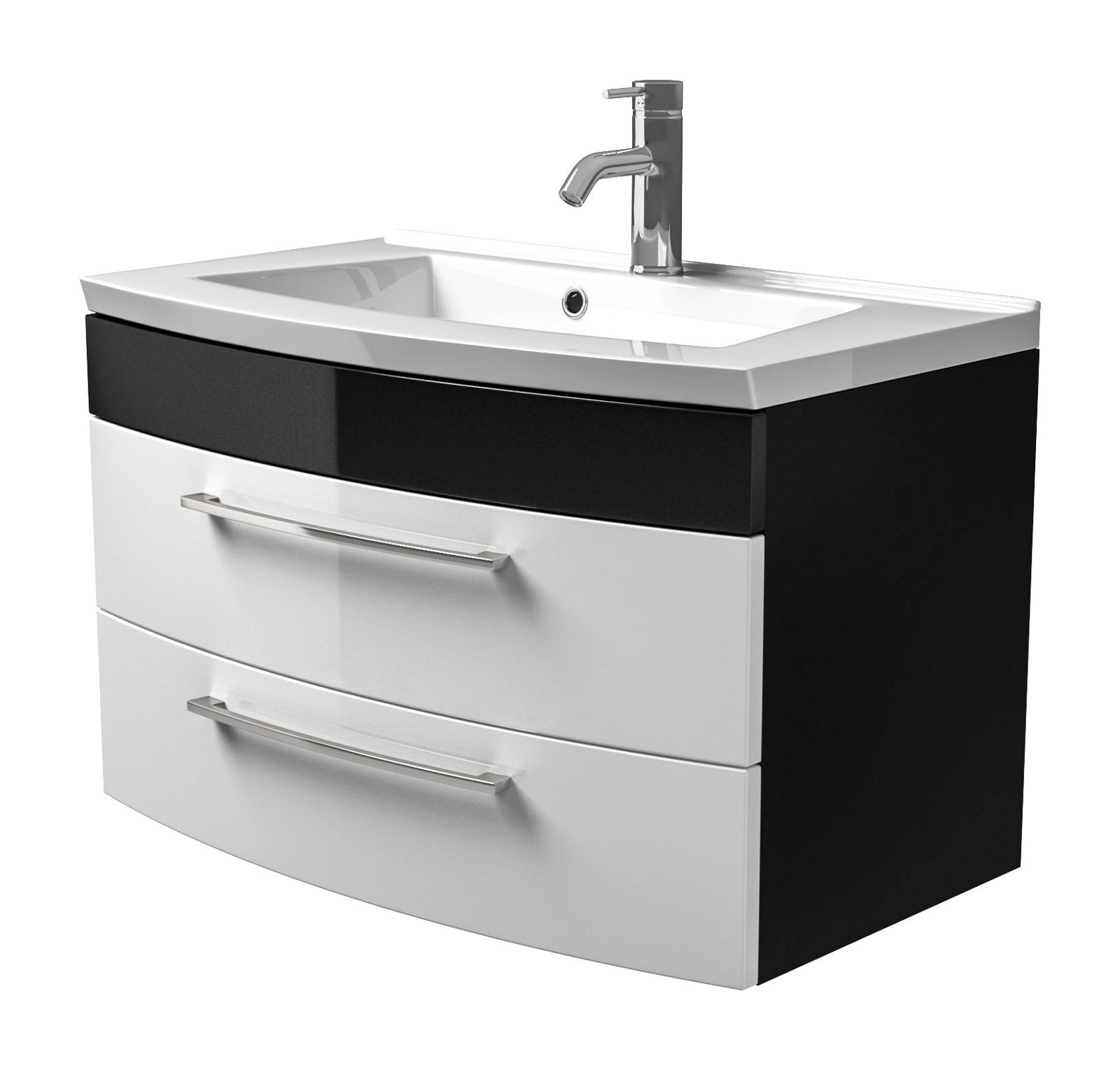 Badmöbel Waschplatz in anthrazit/weiß Hochglanz