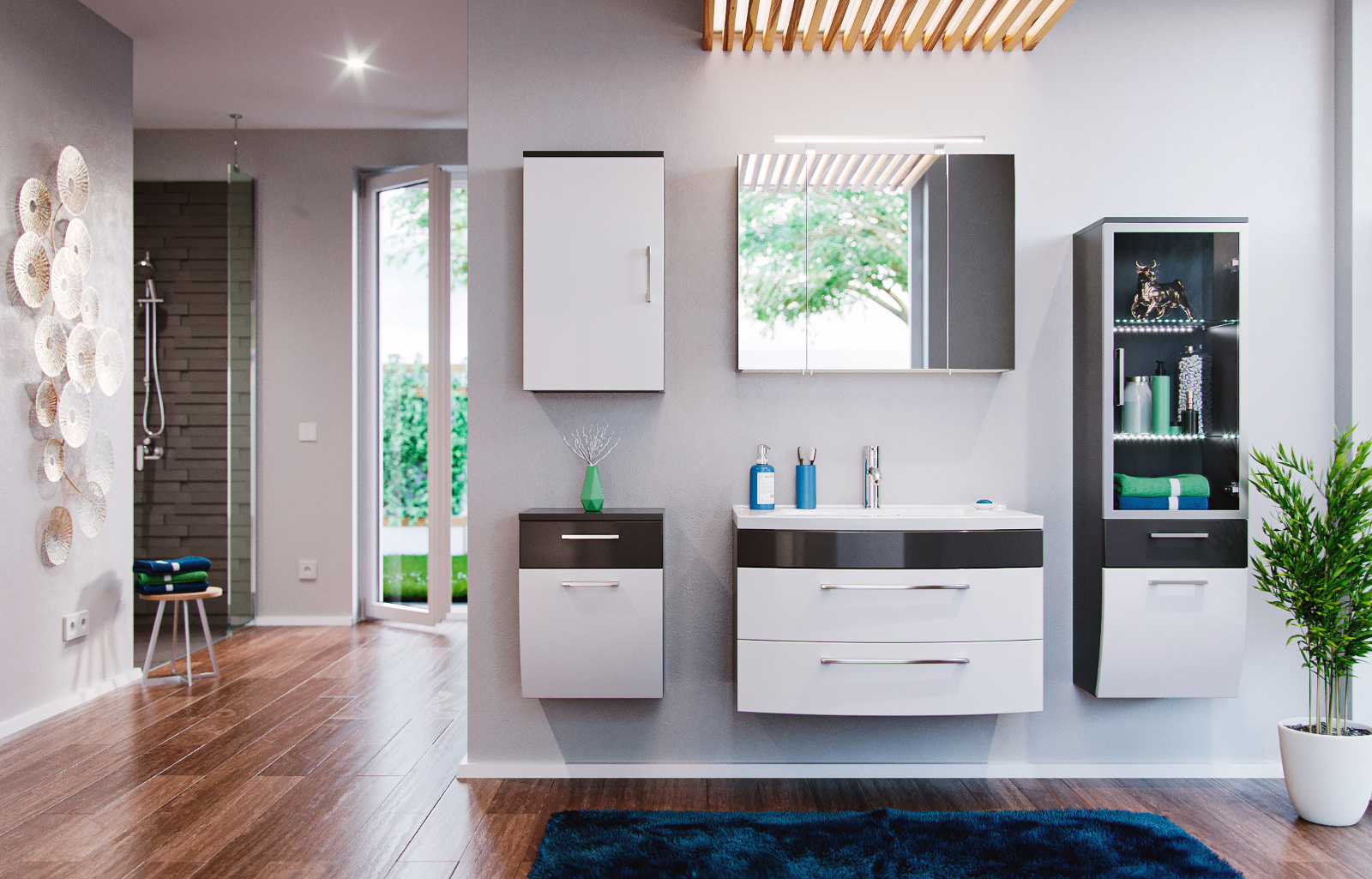badm bel waschplatz in anthrazit wei hochglanz. Black Bedroom Furniture Sets. Home Design Ideas