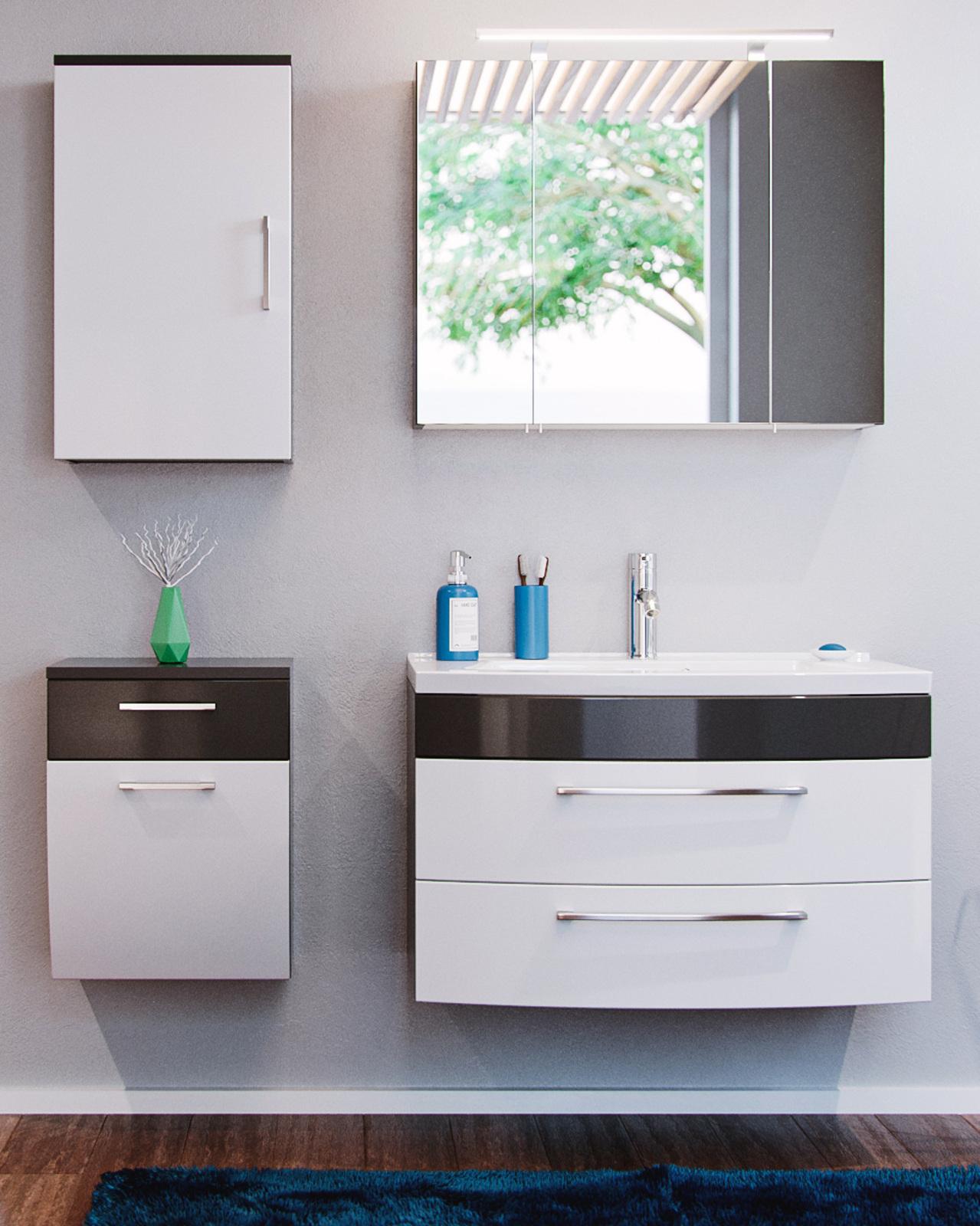 badm bel unterschrank in wei anthrazit hochglanz. Black Bedroom Furniture Sets. Home Design Ideas