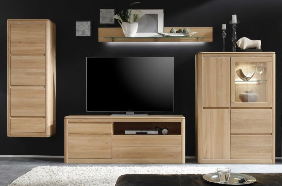 massive wohnwand naturell n1 schrankwand. Black Bedroom Furniture Sets. Home Design Ideas