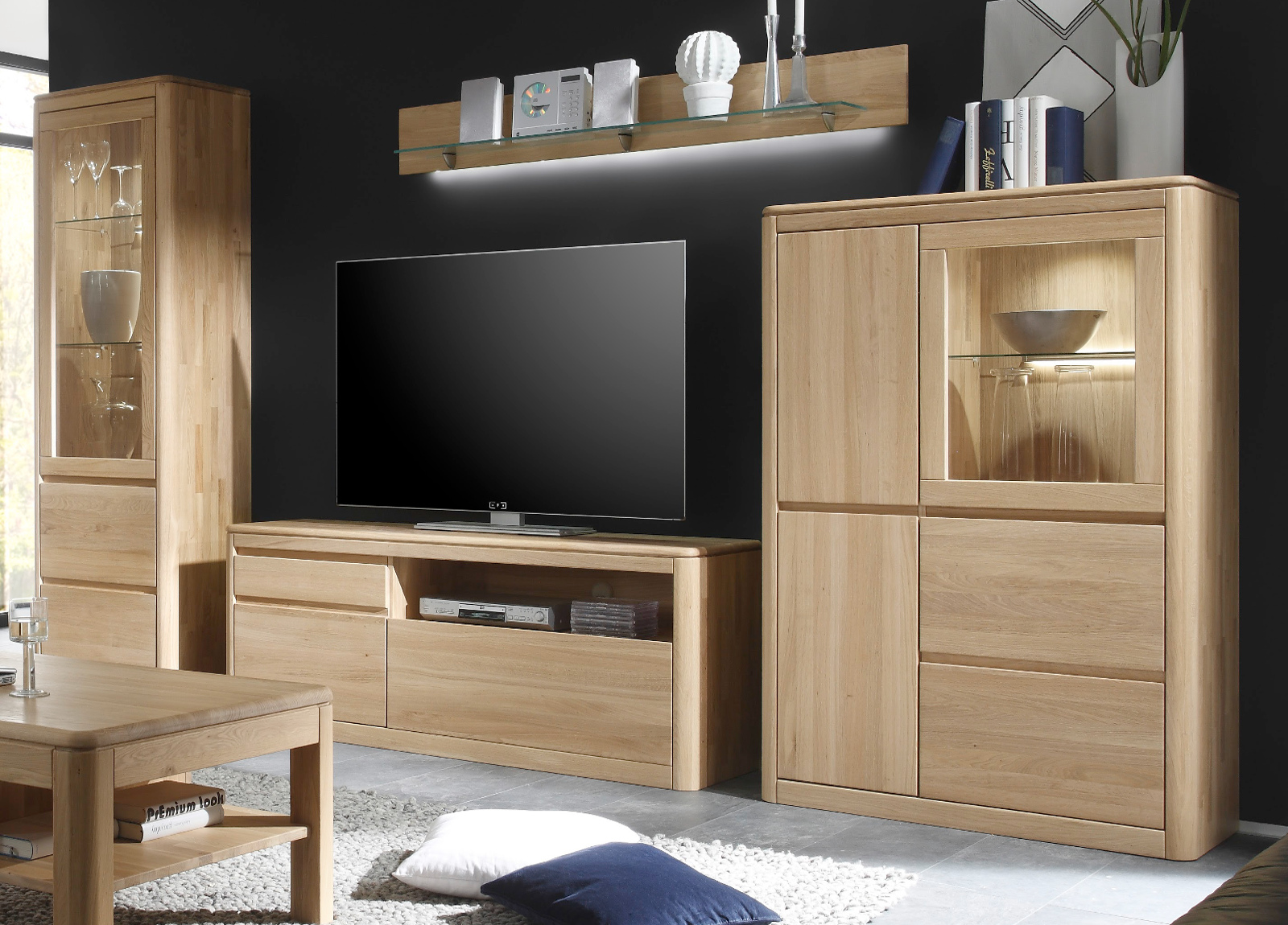 wohnzimmer schrankwand massiv eiche bianco wohnwand naturel m bel ge lt gewachst. Black Bedroom Furniture Sets. Home Design Ideas