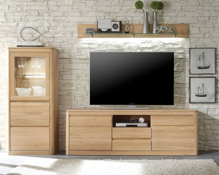 tv lowboard tv unterteil in eiche naturell bianco. Black Bedroom Furniture Sets. Home Design Ideas