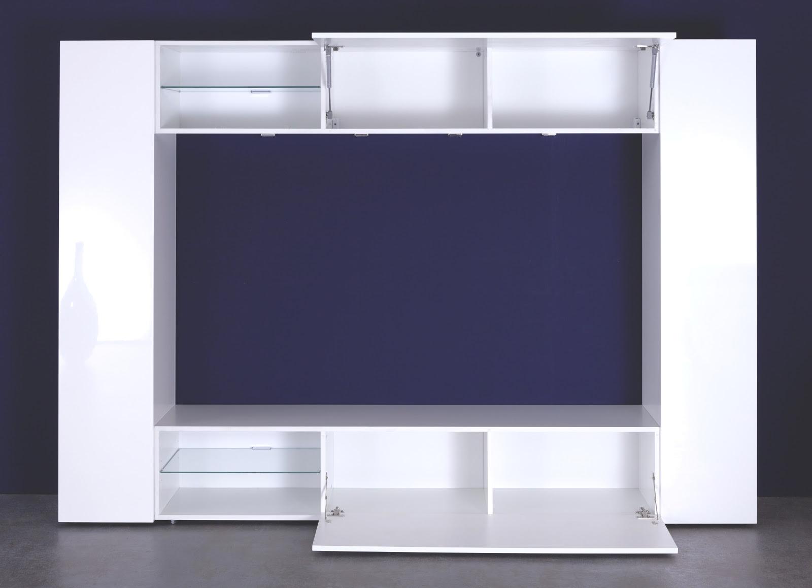 medienwand wei hochglanz inkl led beleuchtung. Black Bedroom Furniture Sets. Home Design Ideas