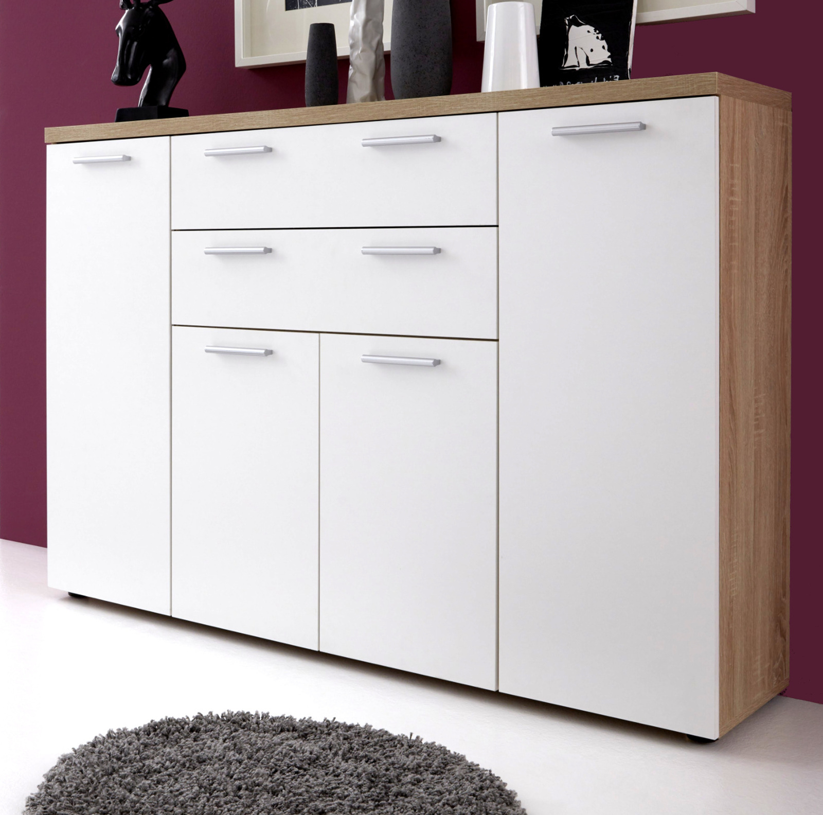 kommode sideboard wei und eiche s gerau hell. Black Bedroom Furniture Sets. Home Design Ideas