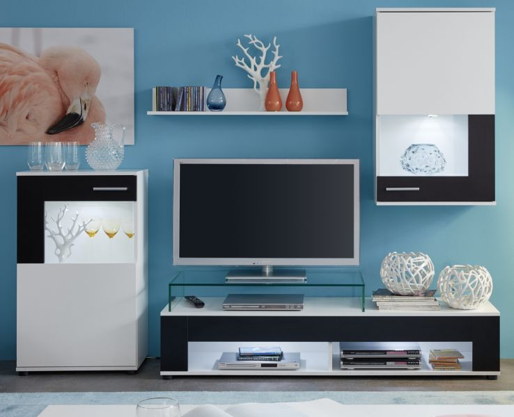 wohnwand wei schwarz wohnzimmer schrankwand fernseher mediawand anbauwand jason ebay. Black Bedroom Furniture Sets. Home Design Ideas