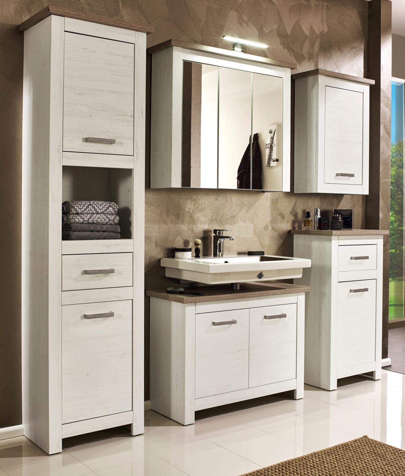 Badezimmer komplett Set Lotte Struktur weiß