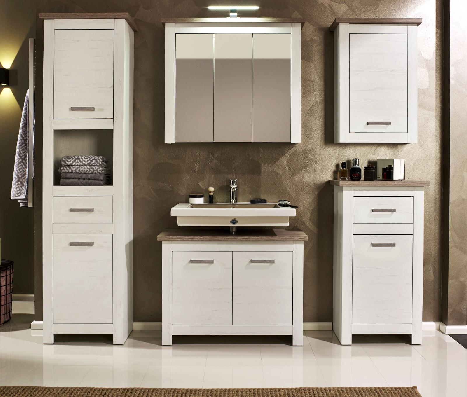 Badezimmer Standschrank Lotte Struktur weiß