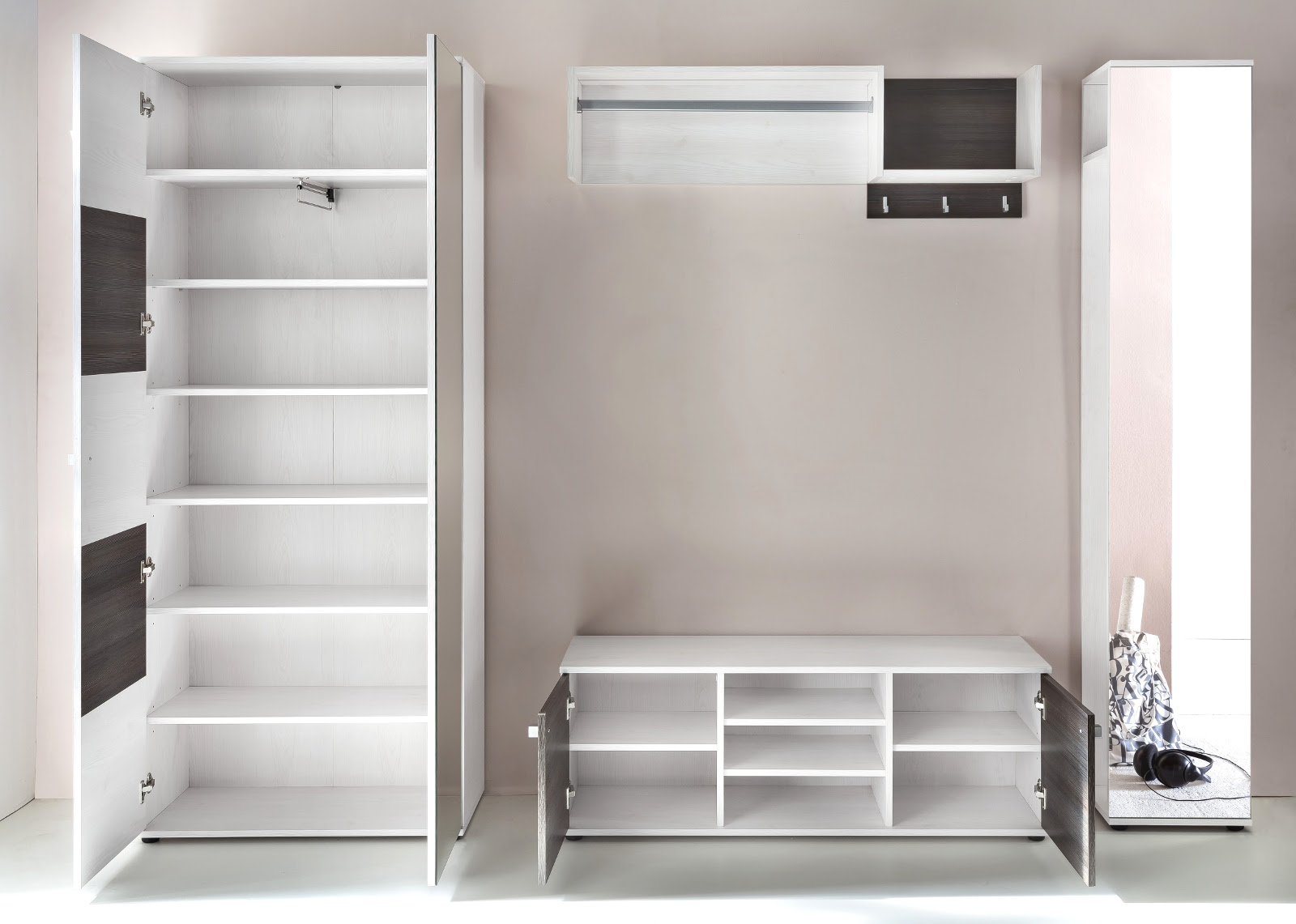 flurgarderobe komplett set wings sibiu l rche wei und. Black Bedroom Furniture Sets. Home Design Ideas