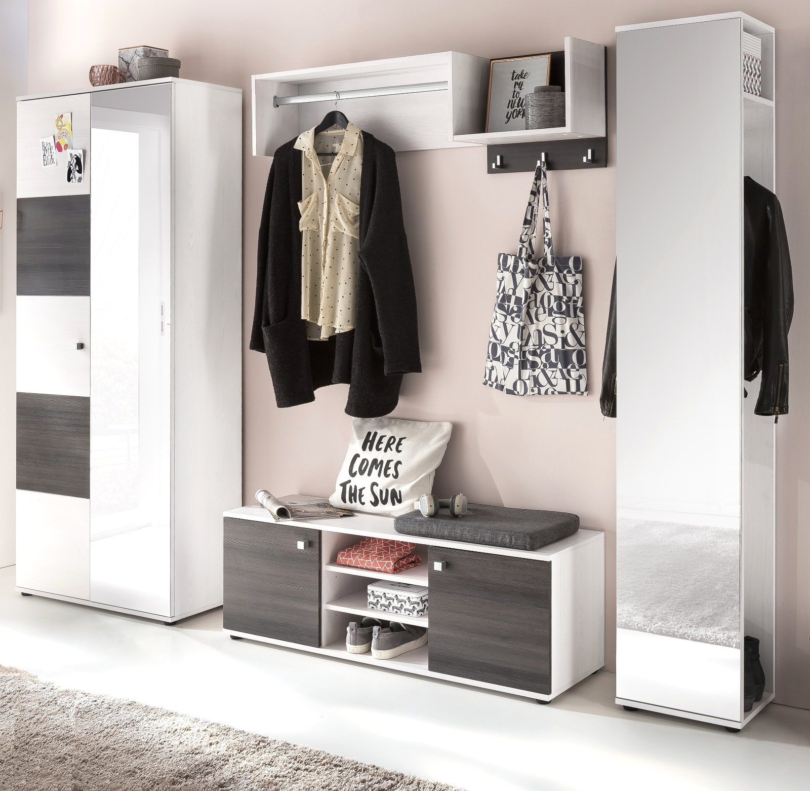 flur garderobe wandgarderobe sibu l rche wei kleiderstange ablage haken wings ebay. Black Bedroom Furniture Sets. Home Design Ideas