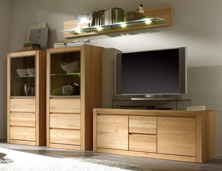 wohnwand ponto kernbuche massiv ge lt gewachst. Black Bedroom Furniture Sets. Home Design Ideas