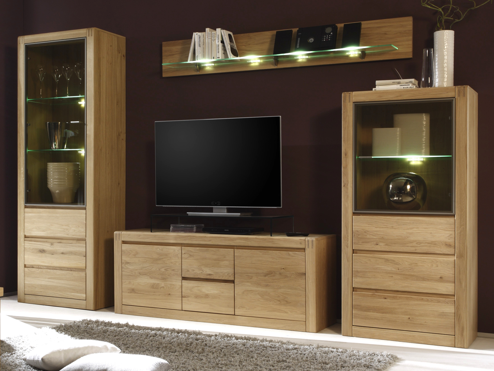 wohnwand ponto massiv ge lt gewachst. Black Bedroom Furniture Sets. Home Design Ideas