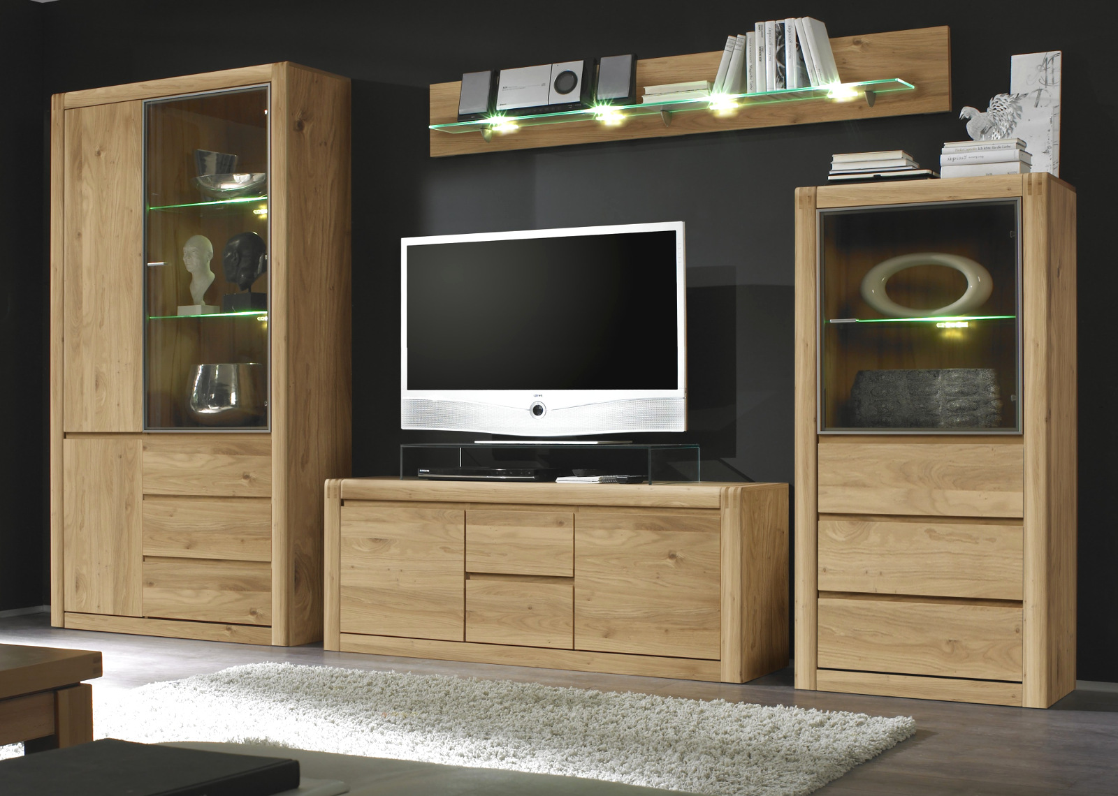 wohnwand ponto eiche massiv ge lt gewachst. Black Bedroom Furniture Sets. Home Design Ideas