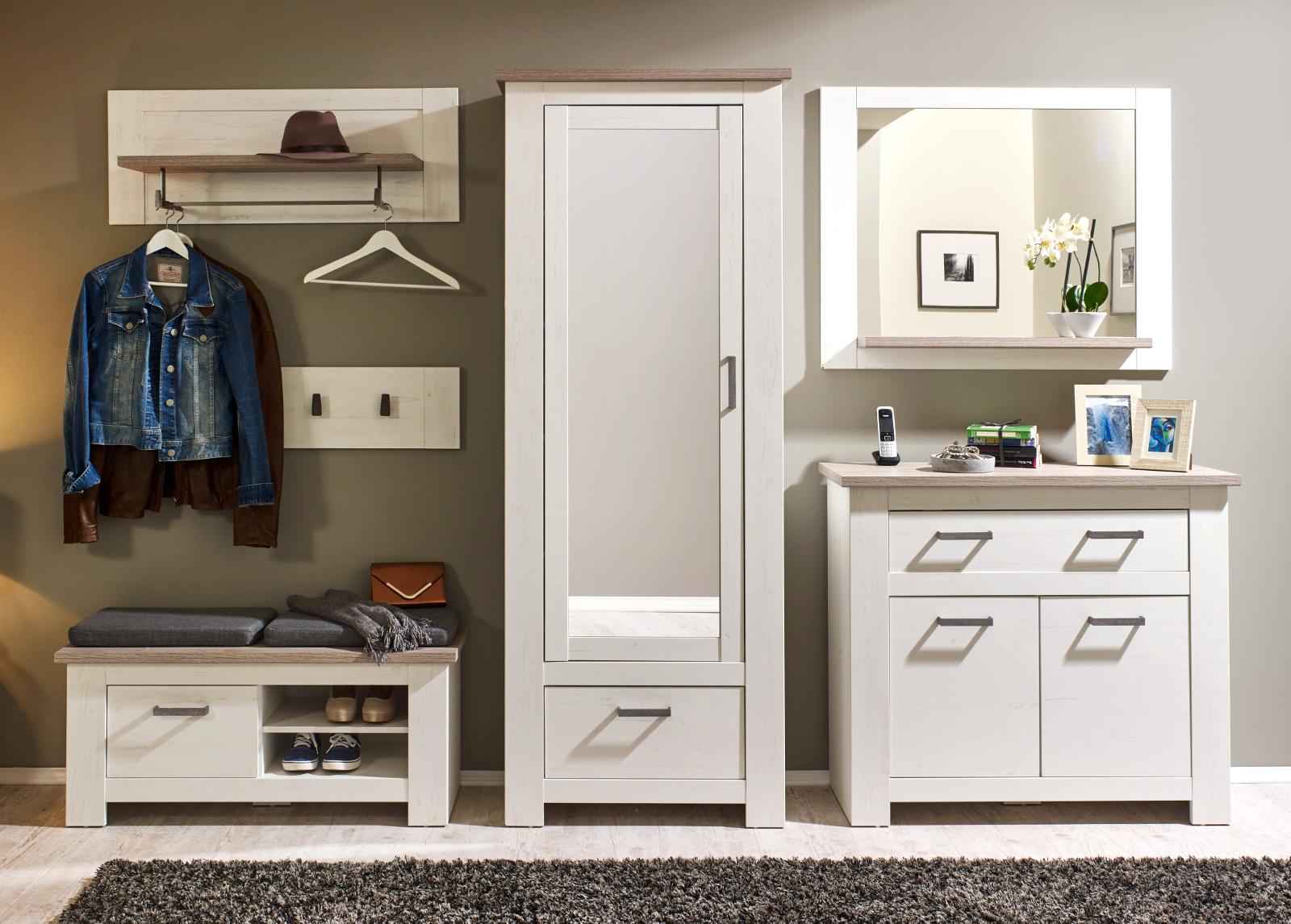 schuhschrank flur kommode pinie wei und eiche nelson dielenm bel landhaus lotte ebay. Black Bedroom Furniture Sets. Home Design Ideas