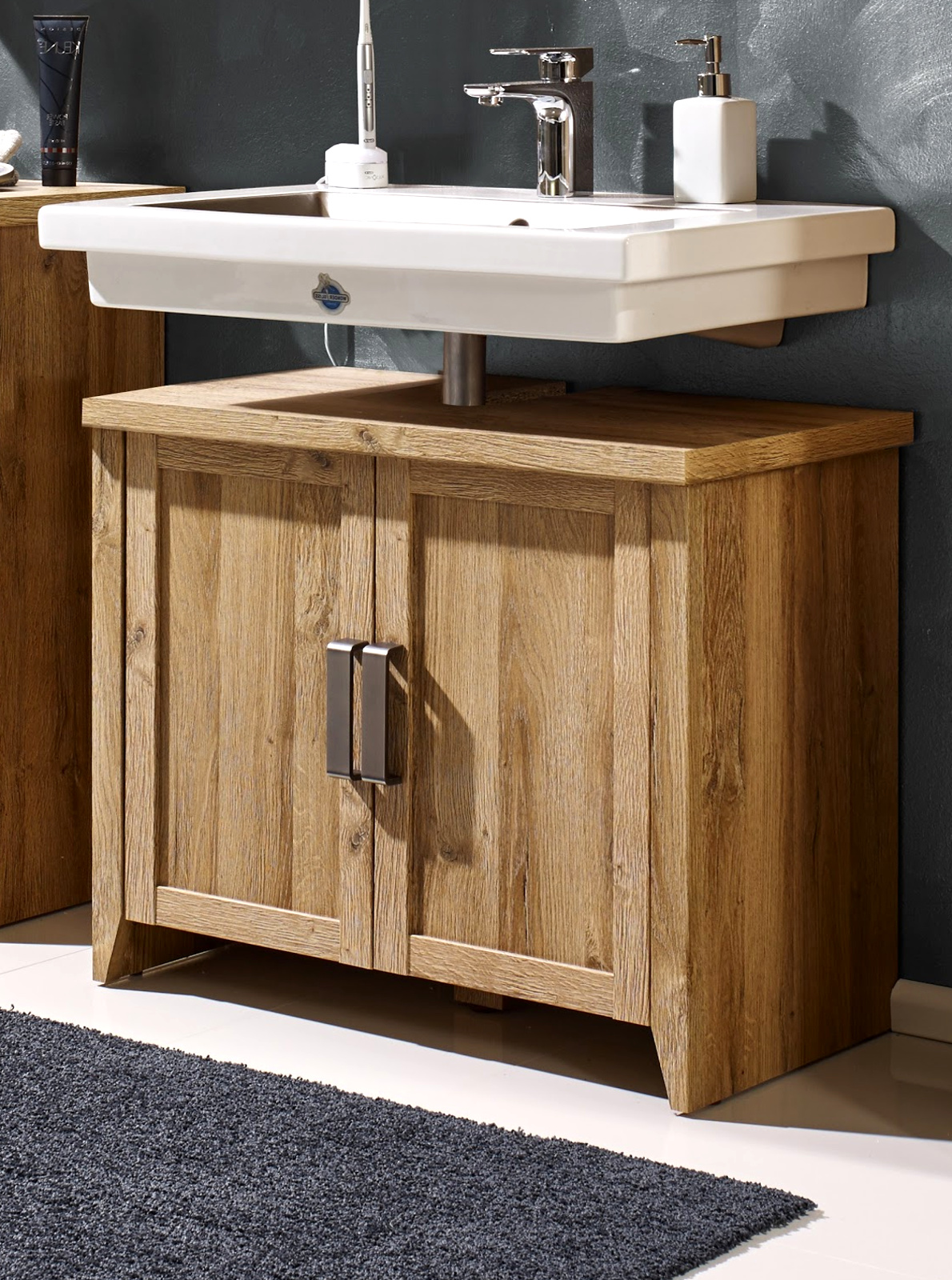 waschbecken unterschrank badschrank eiche alteiche badezimmer bad m bel canyon ebay. Black Bedroom Furniture Sets. Home Design Ideas