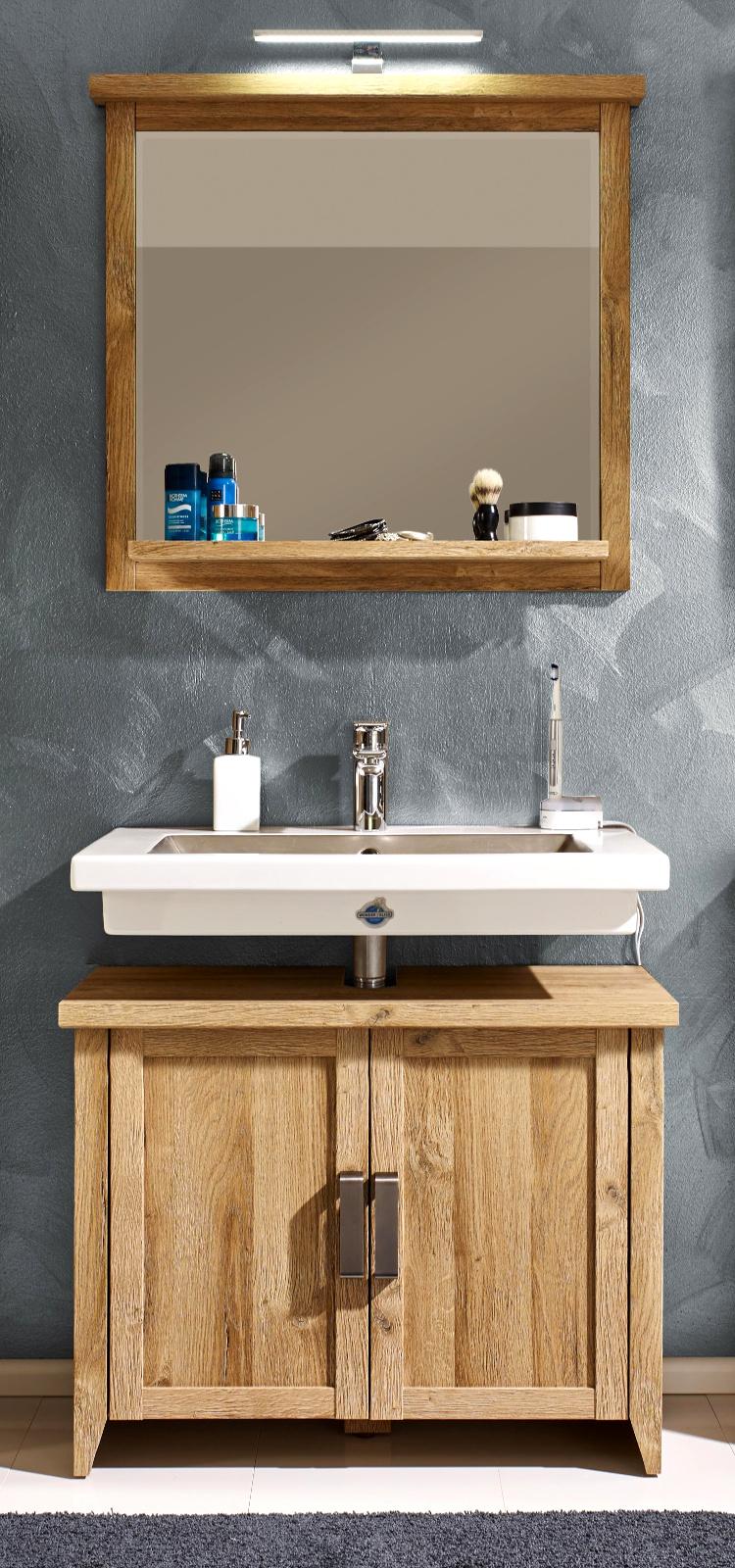 Waschbecken unterschrank badschrank eiche alteiche for Wasserabweisende folie bad