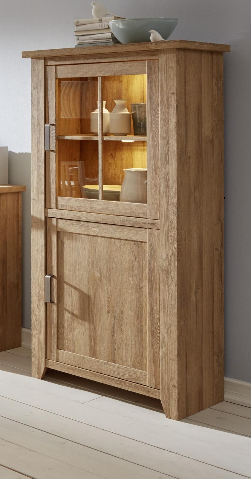 vitrinenschrank vitrine eiche alteiche wohnzimmer esszimmer schrank m bel canyon ebay. Black Bedroom Furniture Sets. Home Design Ideas