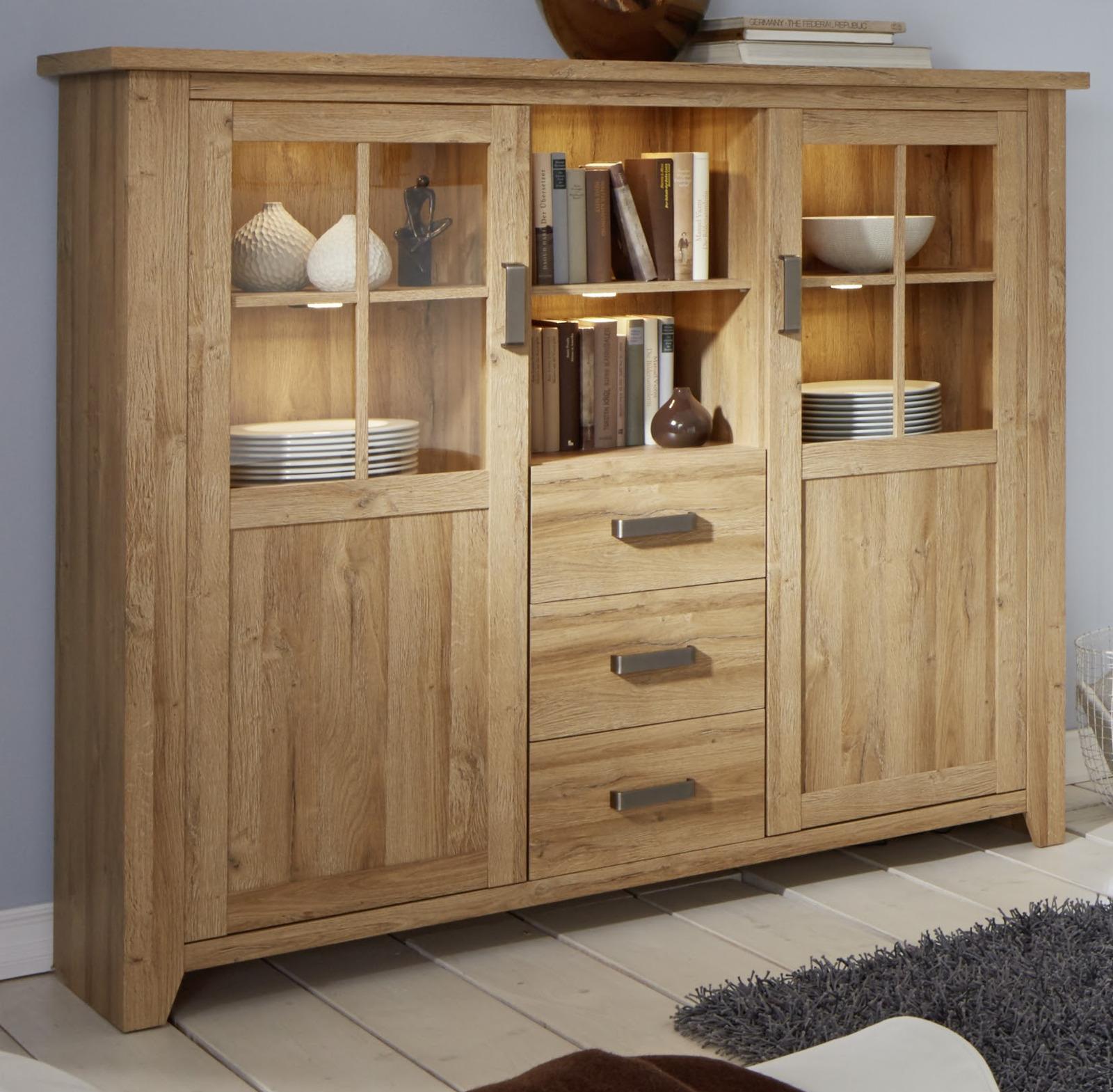 vitrinenschrank highboard canyon alteiche. Black Bedroom Furniture Sets. Home Design Ideas