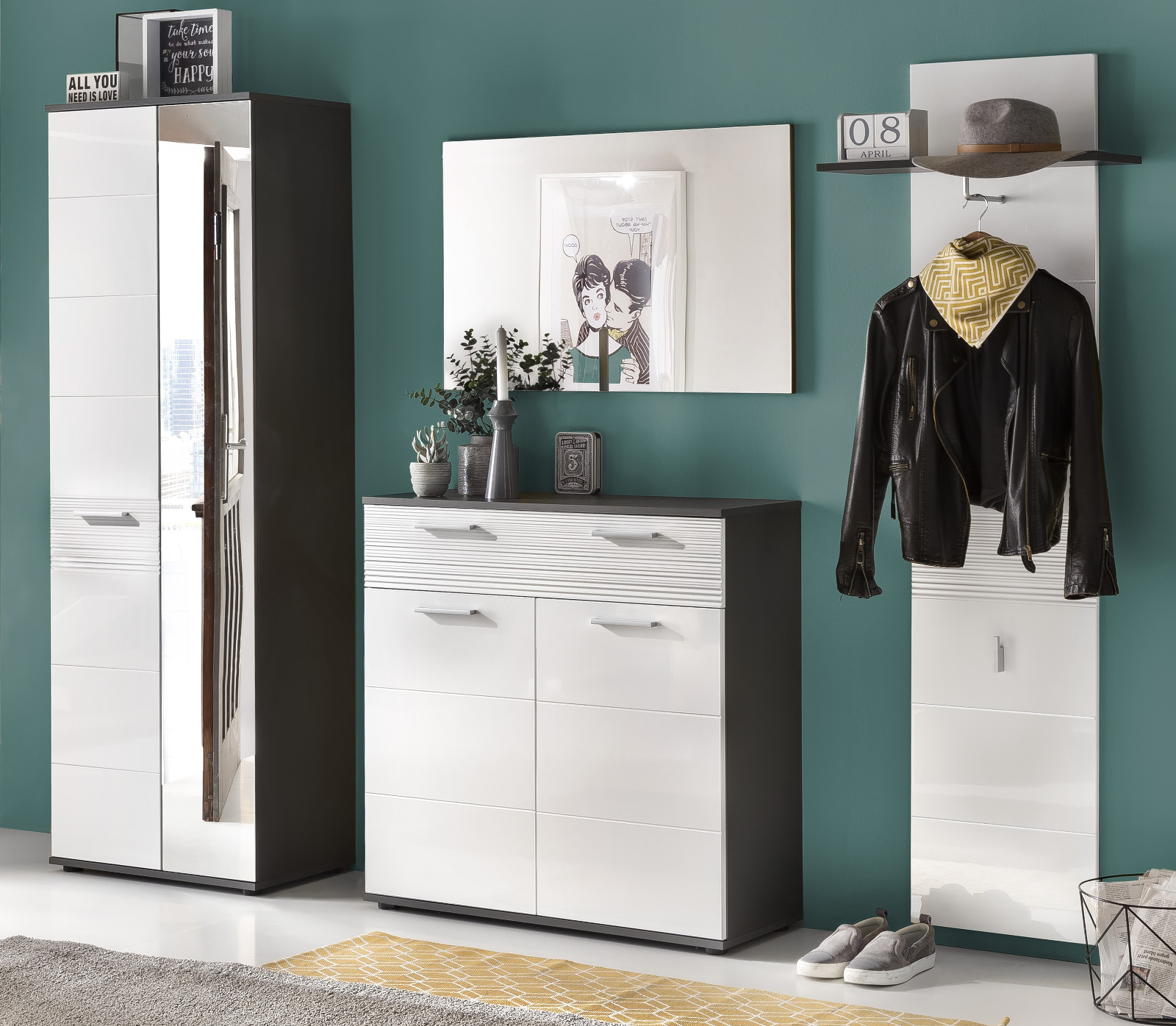 flur kommode schuhschrank smart in hochglanz. Black Bedroom Furniture Sets. Home Design Ideas