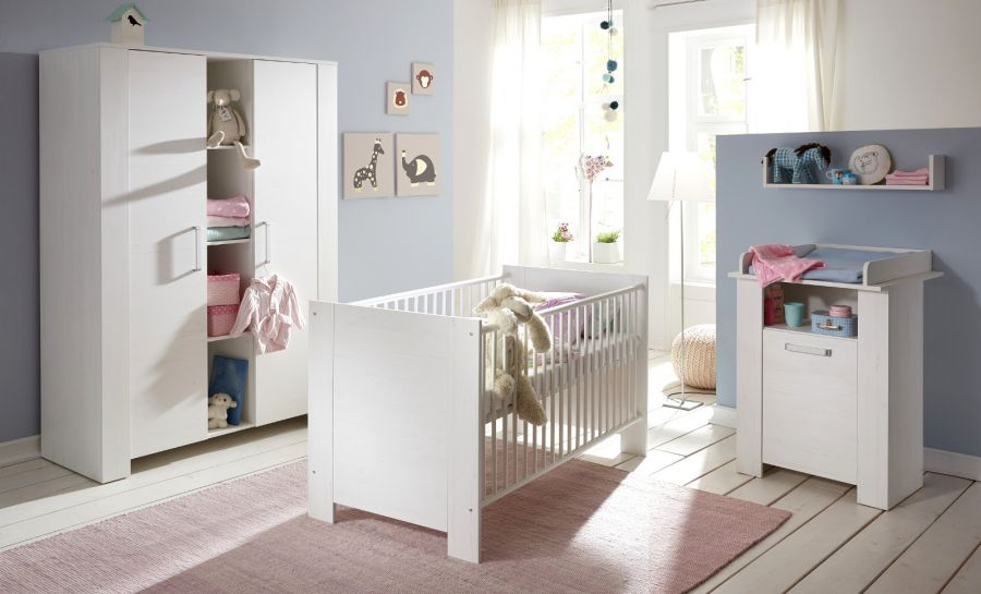 babyzimmer komplett set miri pinie struktur wei. Black Bedroom Furniture Sets. Home Design Ideas