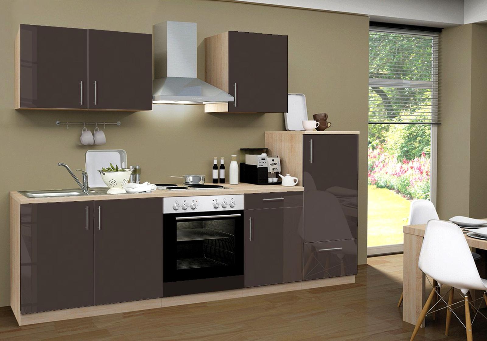 einbauk che premium inkl e ger te 270 cm grau. Black Bedroom Furniture Sets. Home Design Ideas