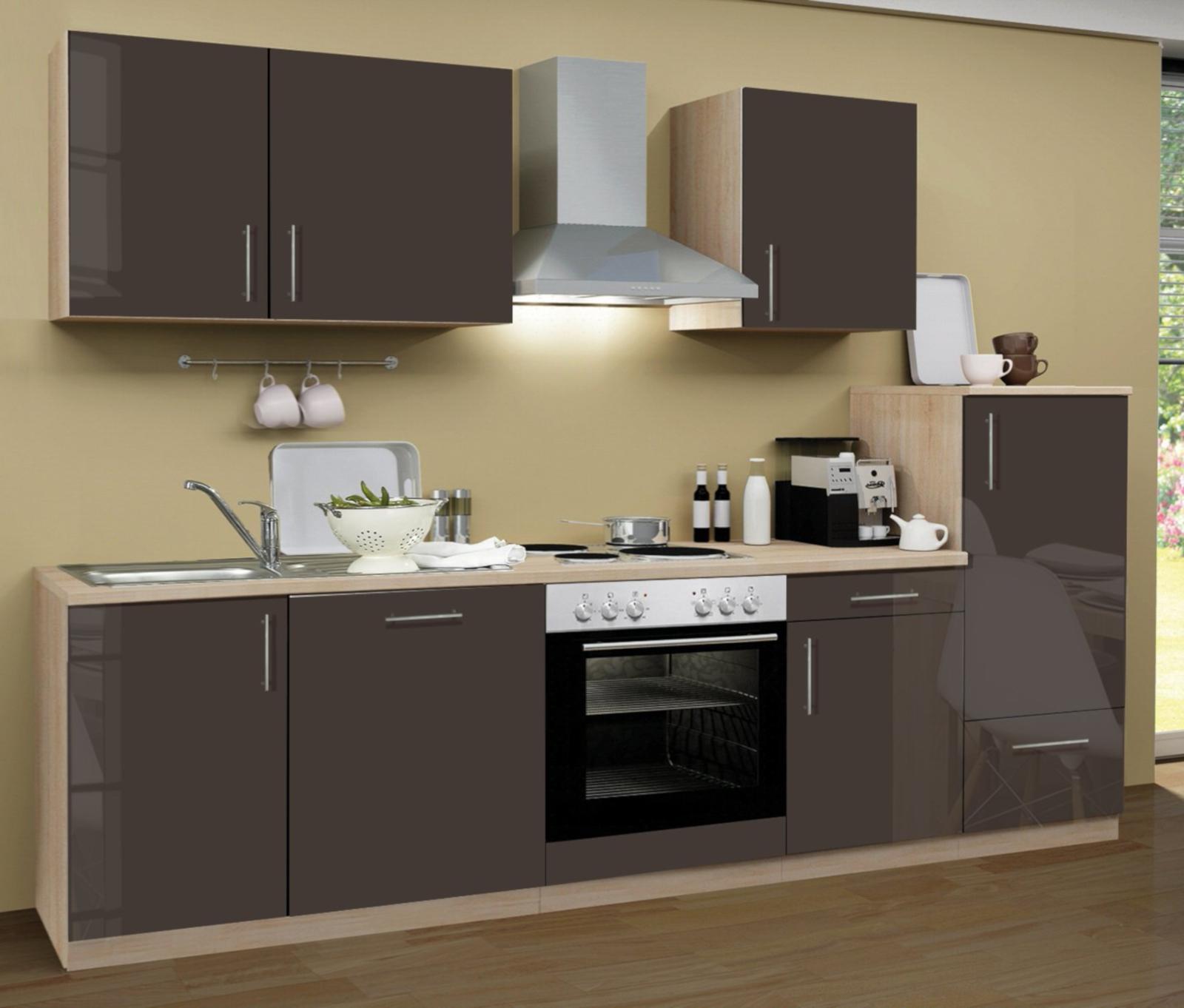 Küchenblock einbauküche premium inkl e geräte geschirrspüler 280 cm breit in lava grau