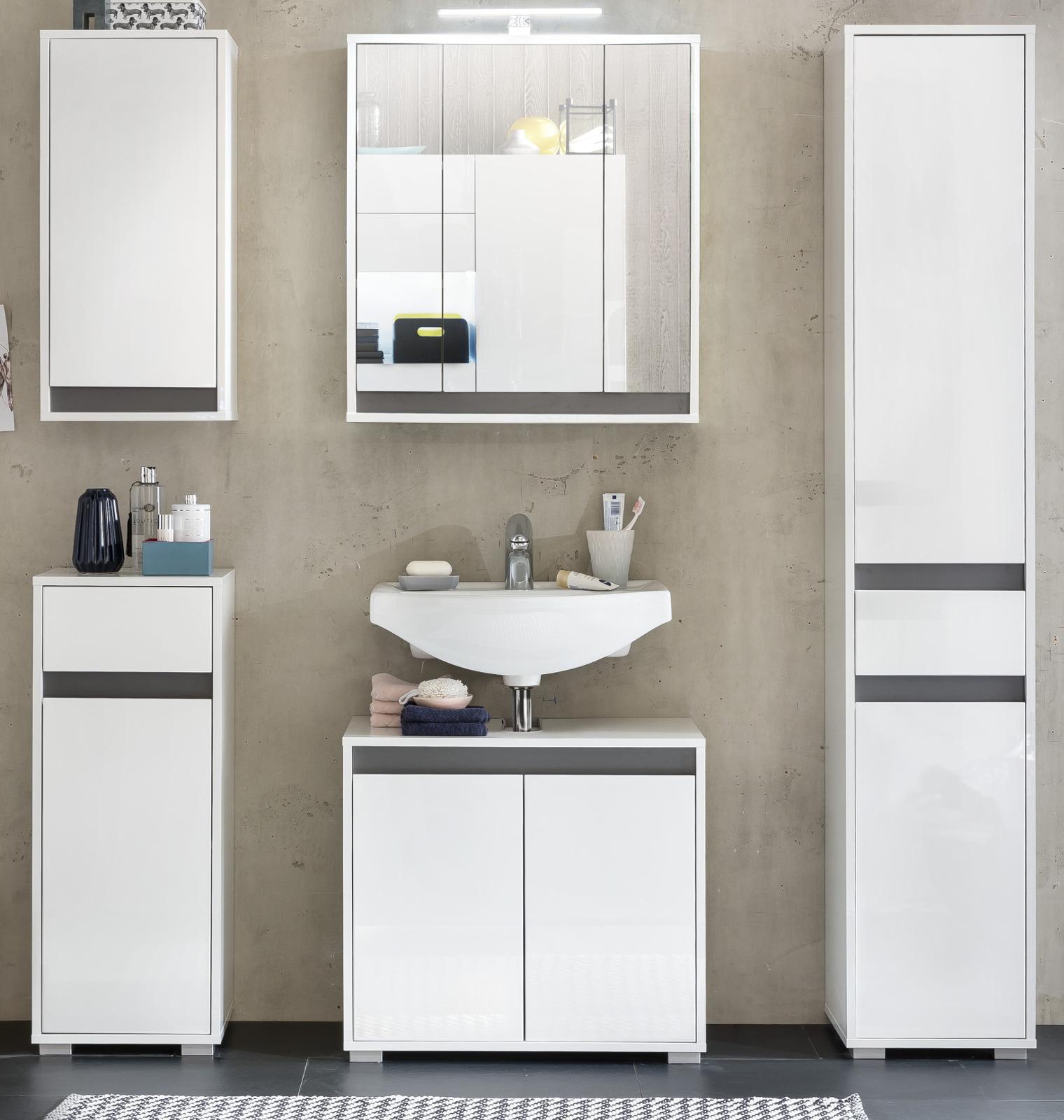 badm belset sol hochglanz wei lack und grau dekor. Black Bedroom Furniture Sets. Home Design Ideas