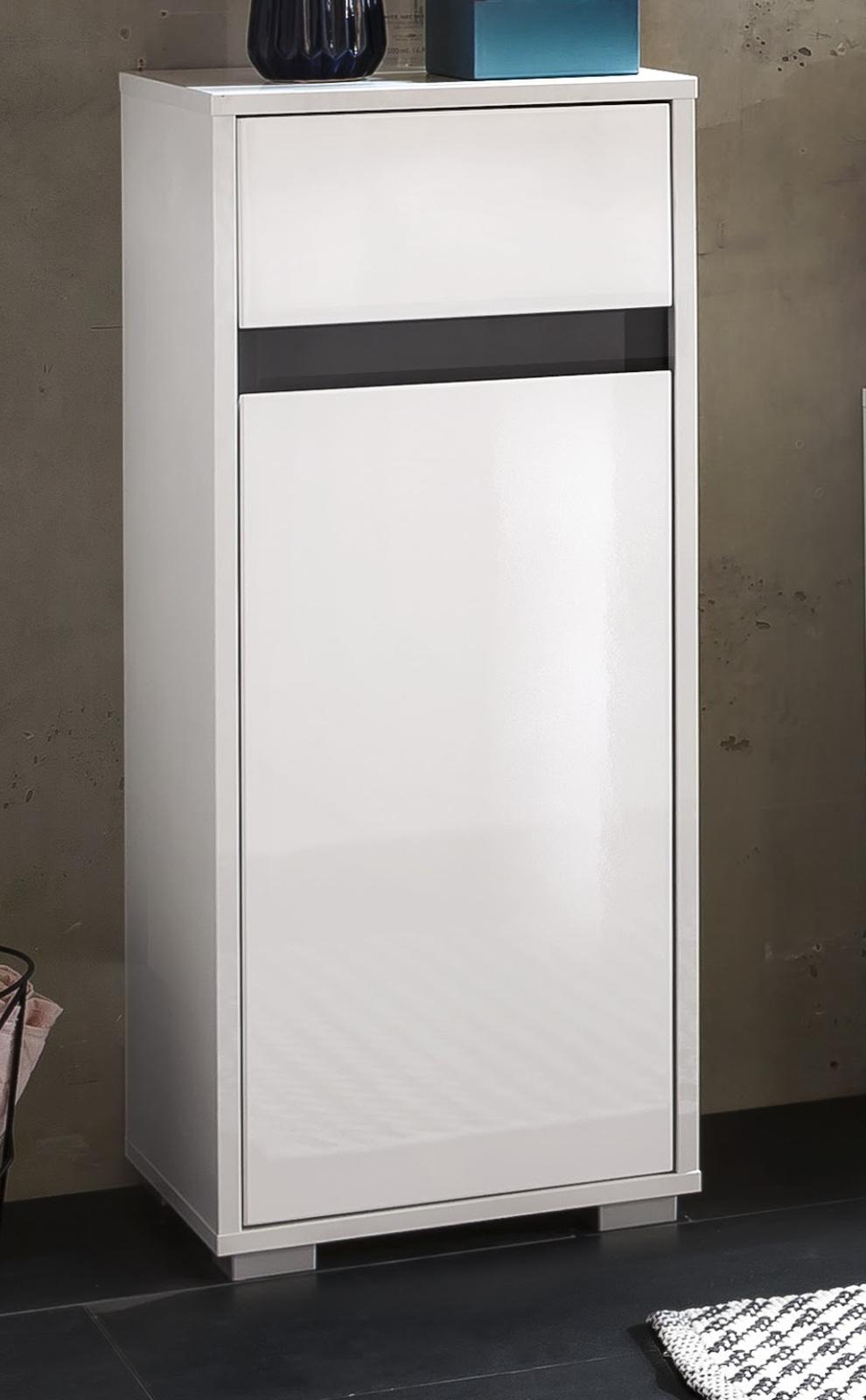 badezimmer standschrank sol hochglanz wei. Black Bedroom Furniture Sets. Home Design Ideas