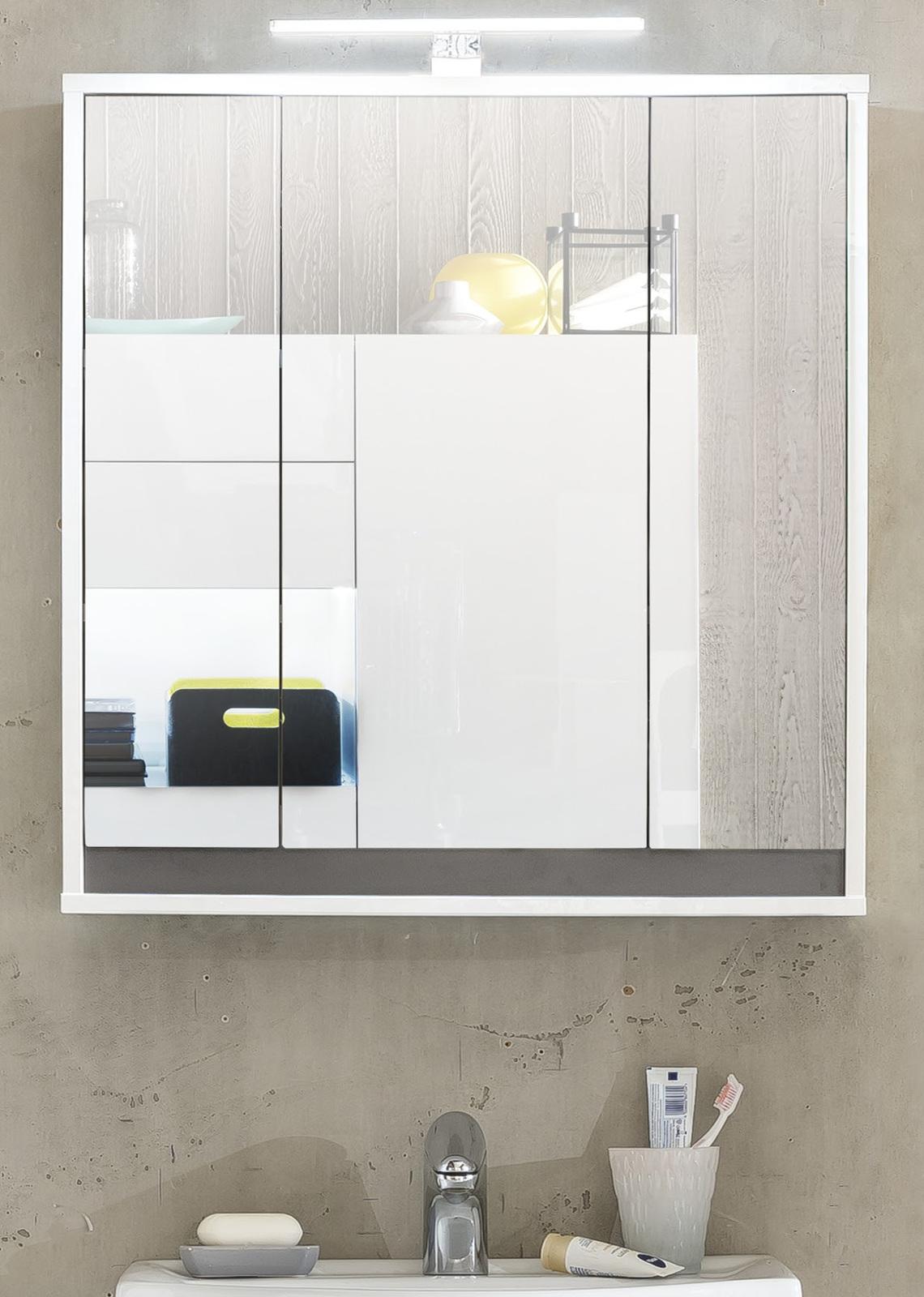 bad spiegelschrank sol 3 t rig wei und grau. Black Bedroom Furniture Sets. Home Design Ideas