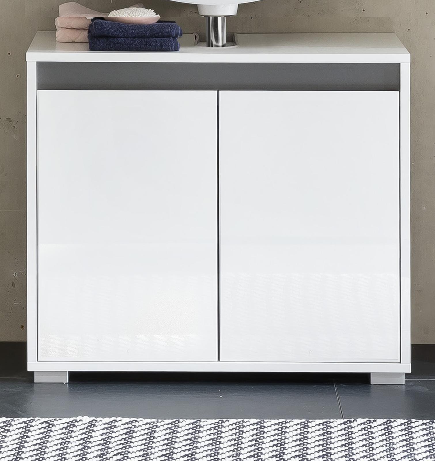 waschbeckenunterschrank sol echt lack hochglanz wei. Black Bedroom Furniture Sets. Home Design Ideas