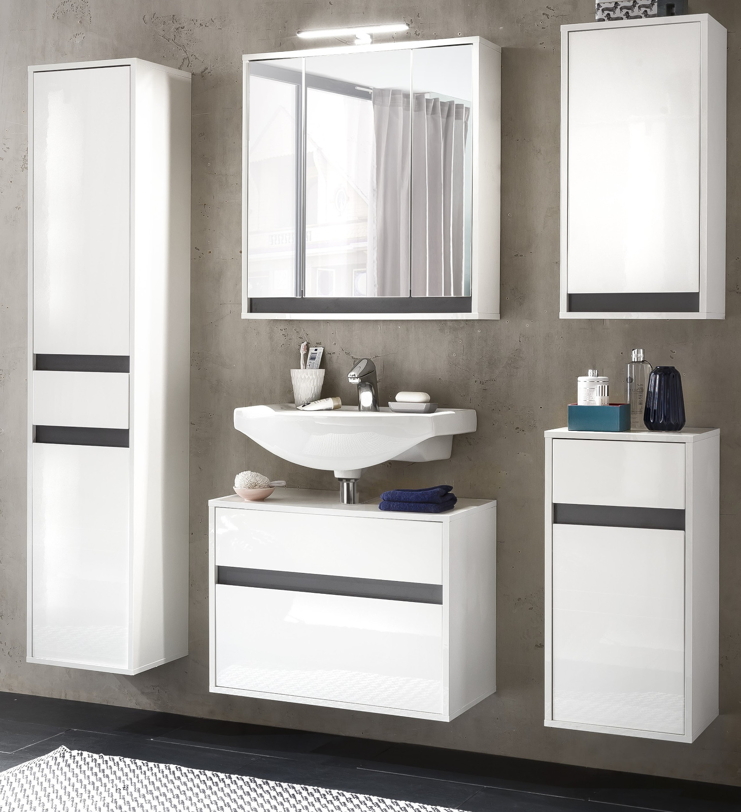 waschbeckenunterschrank h ngeschrank weiss hochglanz lack grau badschrank sol ebay. Black Bedroom Furniture Sets. Home Design Ideas