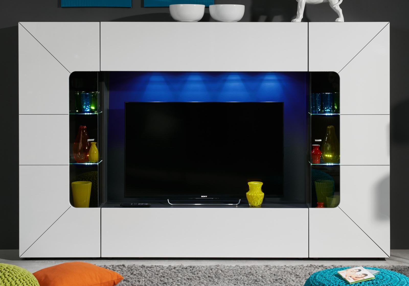wohnwand medien mediawand wei hochglanz fernsehschrank. Black Bedroom Furniture Sets. Home Design Ideas