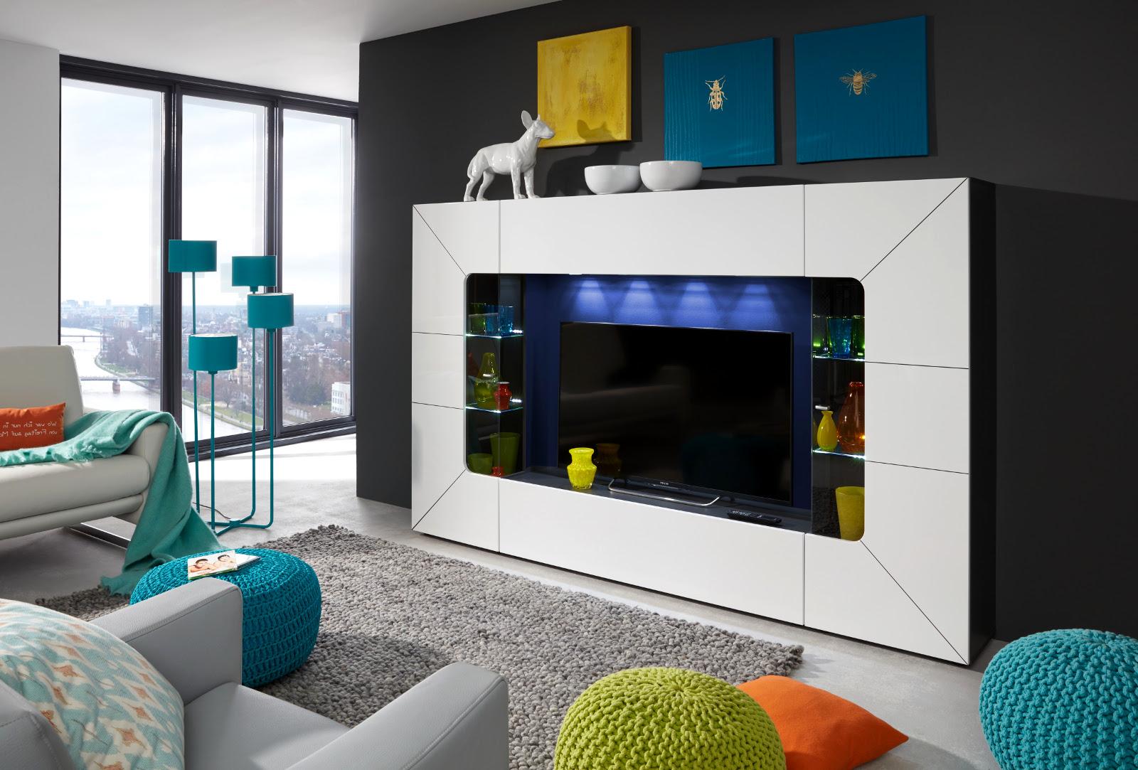 wohnwand medien mediawand wei hochglanz fernsehschrank 250 cm tv bis 60 sprint ebay. Black Bedroom Furniture Sets. Home Design Ideas
