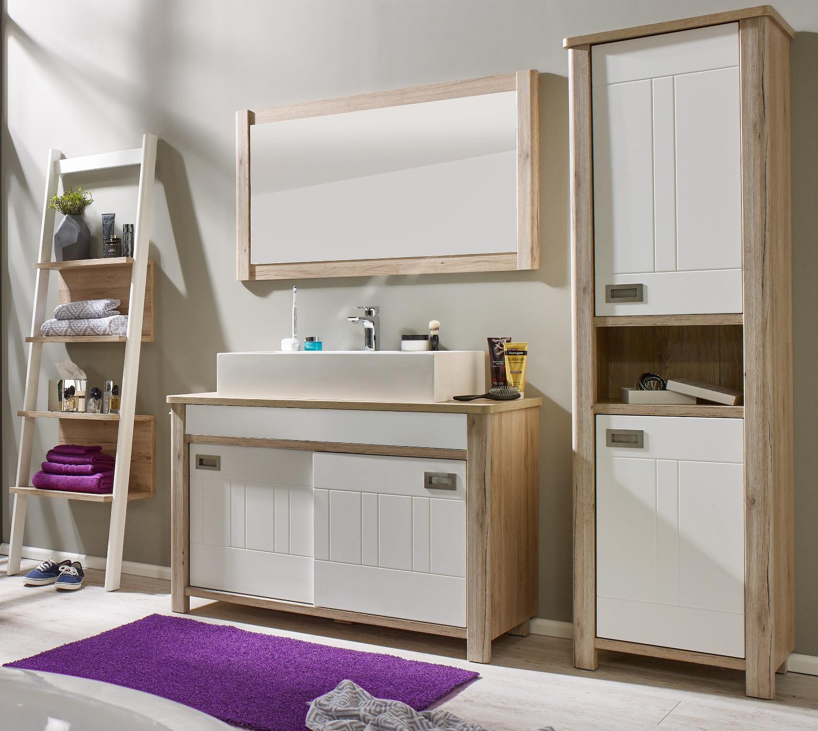 waschtisch seven braun und wei inkl waschbecken. Black Bedroom Furniture Sets. Home Design Ideas