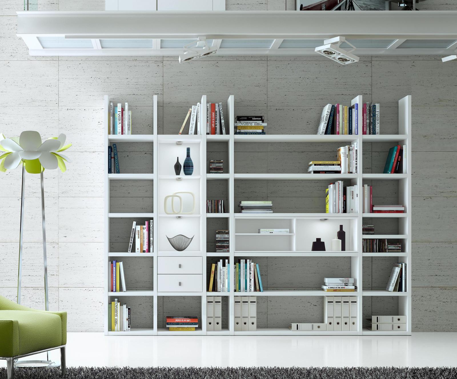 wohnwand b cherwand bibliothek lack wei schwarz. Black Bedroom Furniture Sets. Home Design Ideas