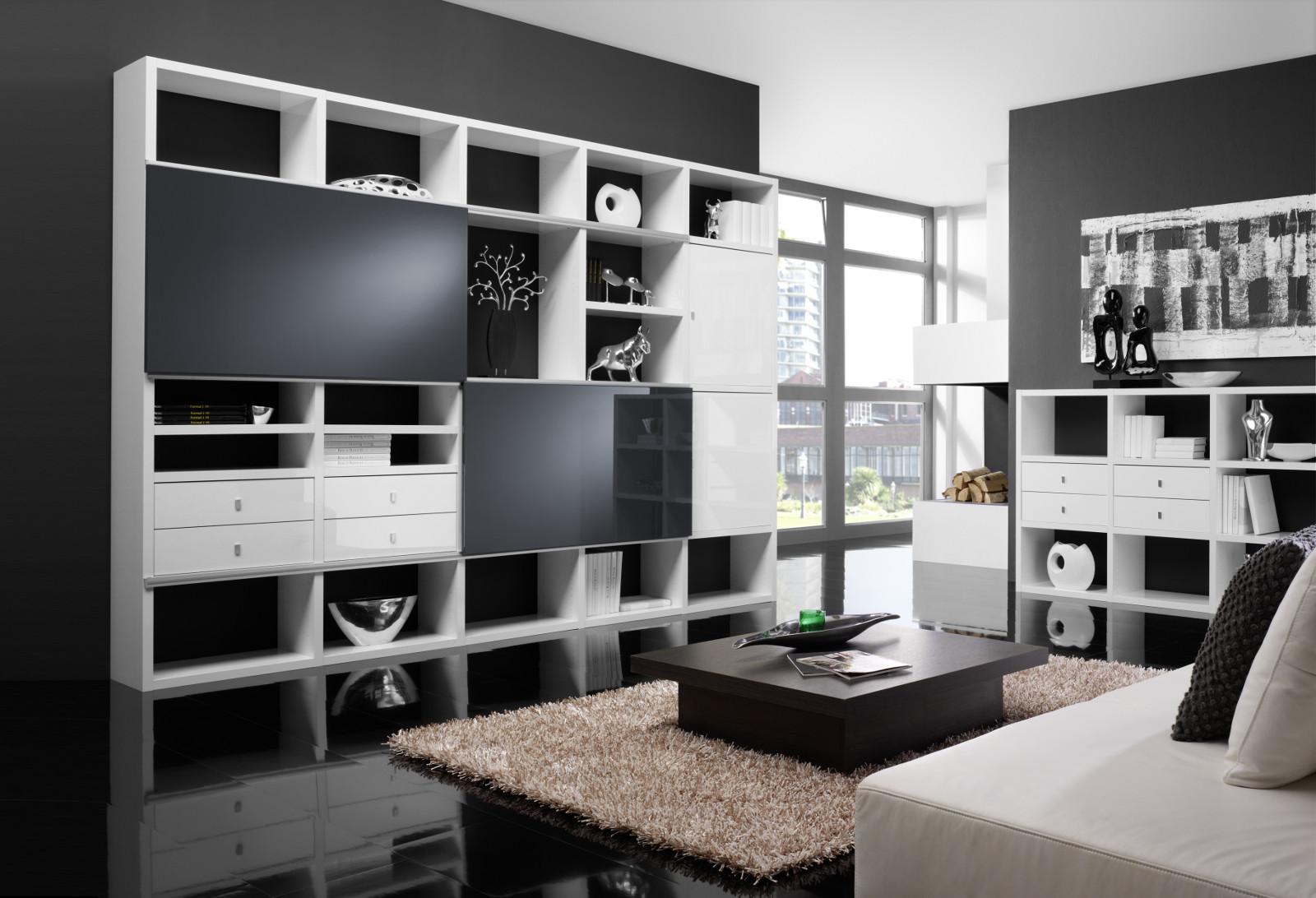 Wohnwand bücherwand bibliothek lack weiß schwarz ...