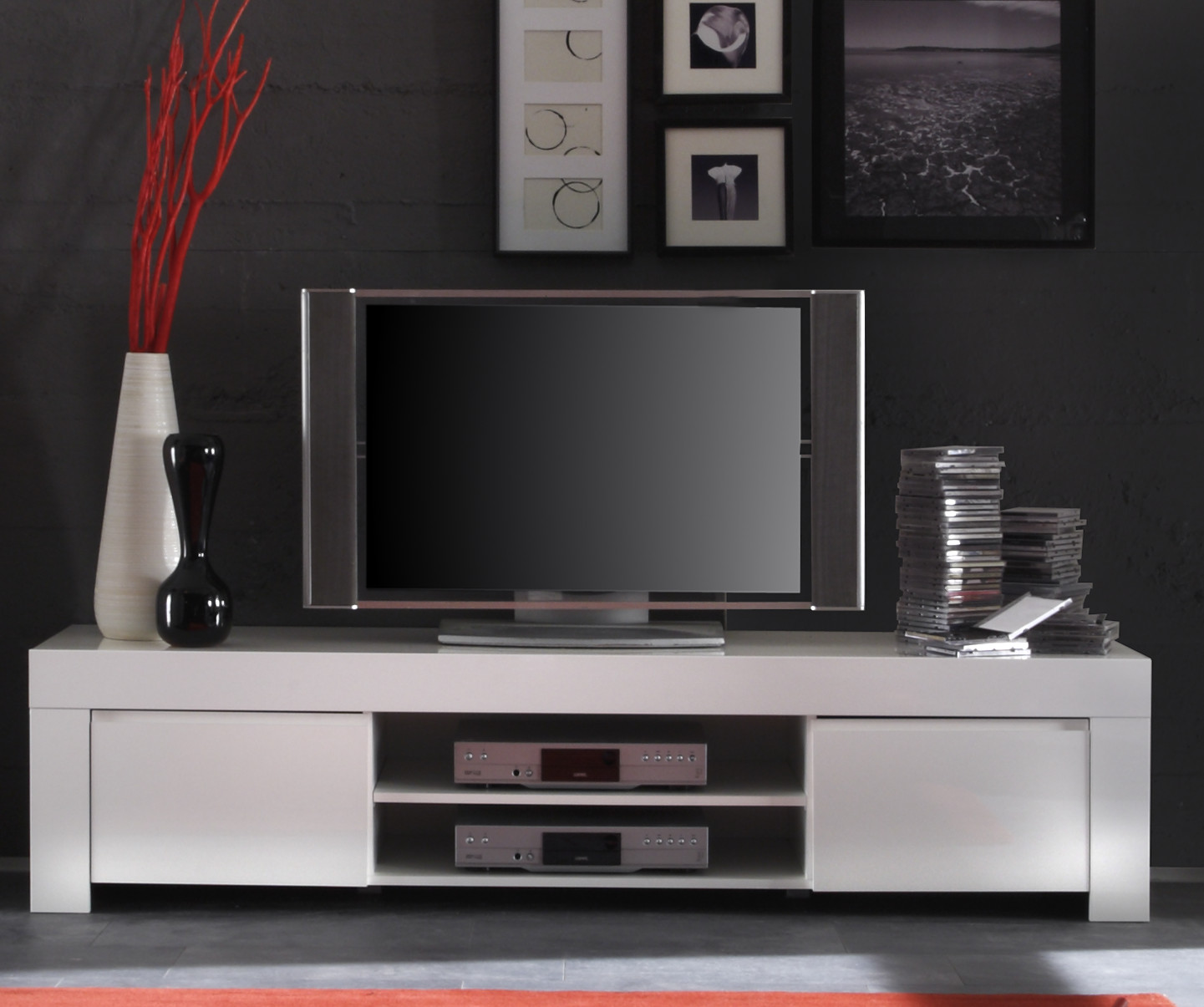 tv element in wei hochglanz lack italien livorno. Black Bedroom Furniture Sets. Home Design Ideas