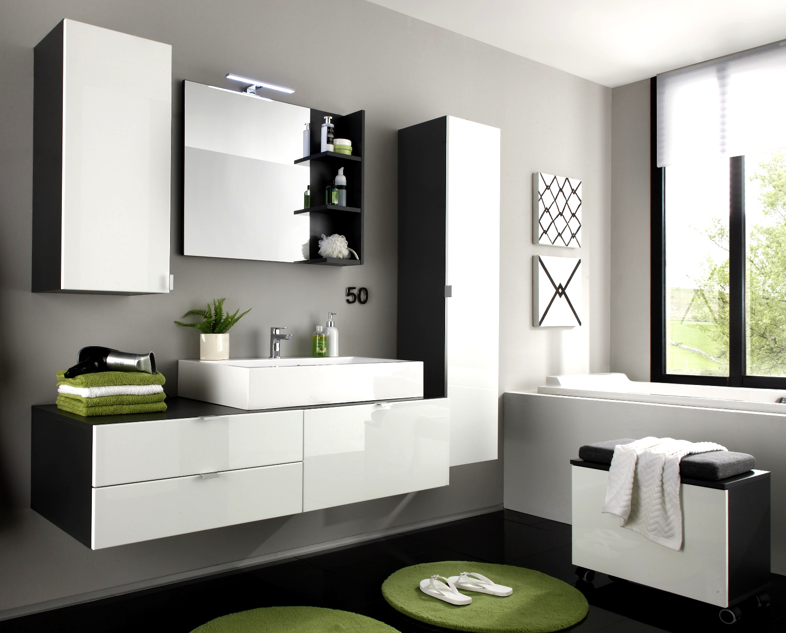 badezimmer badm bel set beach 3 teilig wei hochglanz. Black Bedroom Furniture Sets. Home Design Ideas