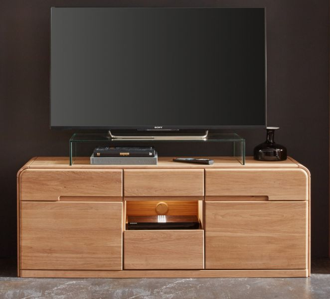 tv lowboard round in eiche bianco massiv. Black Bedroom Furniture Sets. Home Design Ideas