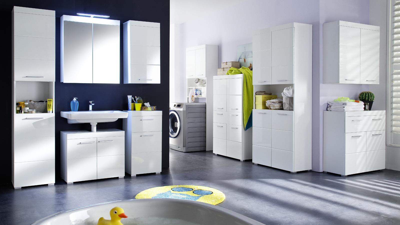 Bad waschmaschinenschrank amanda weiß hochglanz