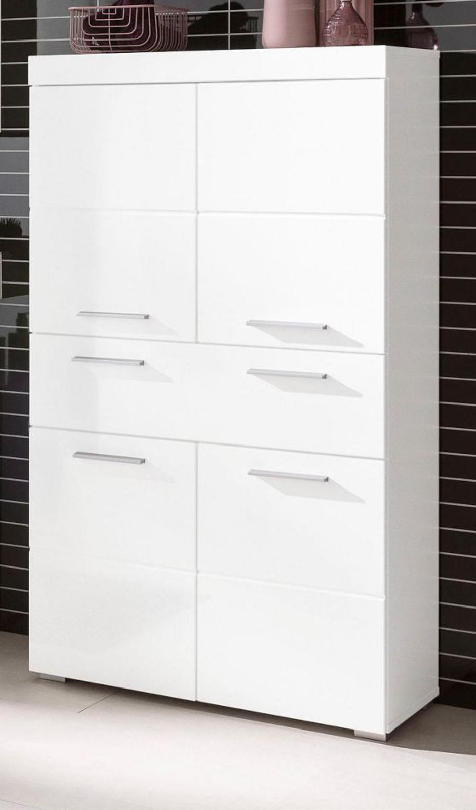 badezimmer standschrank amanda wei hochglanz. Black Bedroom Furniture Sets. Home Design Ideas