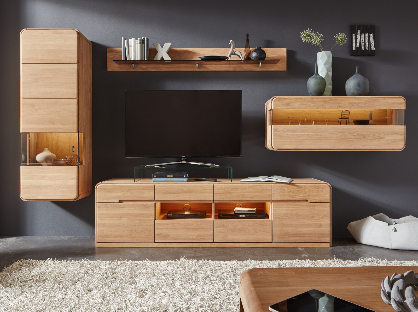 lowboard round in eiche bianco massiv ge lt. Black Bedroom Furniture Sets. Home Design Ideas