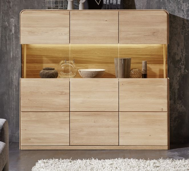 highboard stauraumvitrine round in eiche bianco massiv. Black Bedroom Furniture Sets. Home Design Ideas