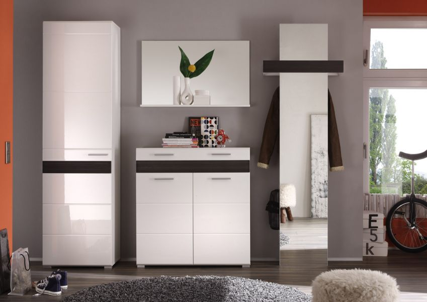 flur garderobe garderobenschrank wei hochglanz mit eiche. Black Bedroom Furniture Sets. Home Design Ideas